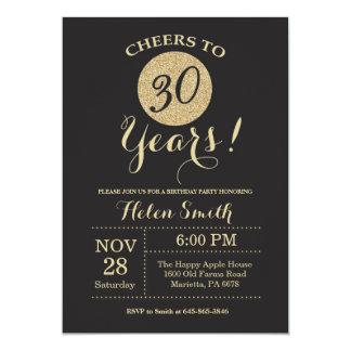 Carte 30ème Noir d'invitation d'anniversaire et