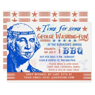 Carte 4 juillet partie drôle de barbecue de BBQ  