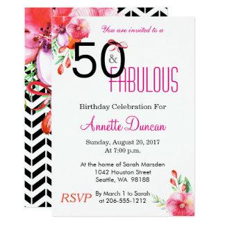 Carte 50 et cinquantième fête d'anniversaire élégante
