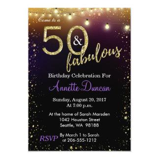 Carte 50 et fête d'anniversaire fabuleuse de lumières et