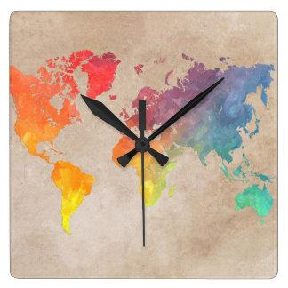 carte 9 du monde horloge carrée