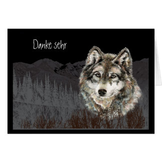 Carte Allemand de sehr de Danke d'aquarelle   de loup