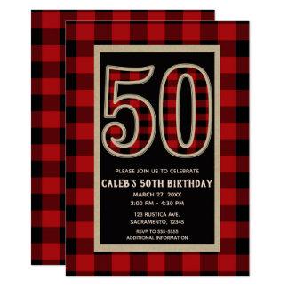Carte Anniversaire 50 rouge rustique de plaid