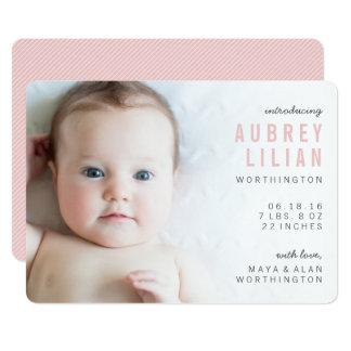 Carte Annonces modernes simples de naissance de fille de
