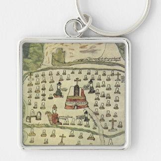 Carte antique du monde ; Empire aztèque de Porte-clé Carré Argenté