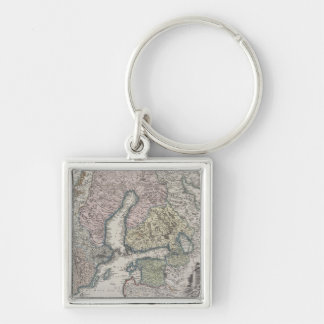 Carte antique scandinave porte-clés