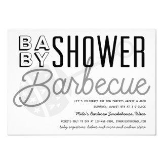 Carte B&W moderne couple l'invitation de barbecue de