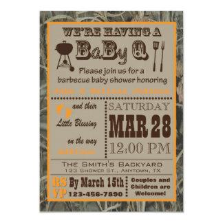 Carte Baby shower de BabyQ de barbecue de Camo