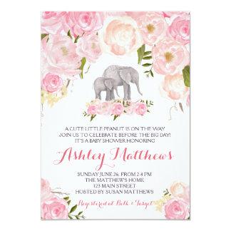 Carte Baby shower d'éléphant, floral rose