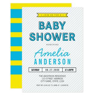 Carte Baby shower moderne bleu et jaune d'amusement