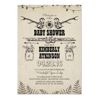 Carte Baby shower rustique de pays de bottes de cowboy