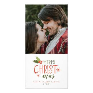Carte Baie de houx de Joyeux Noël