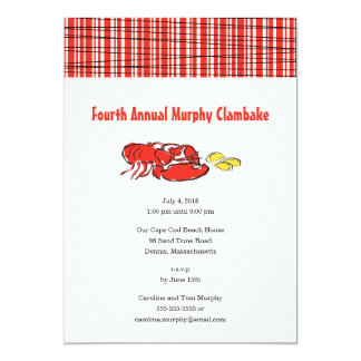 Carte Barbecue d'été de grande fête de homard