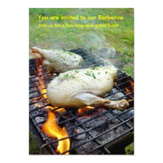 Carte Barbecue grillant recueillant l'invitation