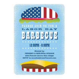 Carte Barbecue patriotique d'hamburger de Fête du