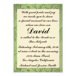 Carte Barre verte Mitzvah de fleurs/invitation