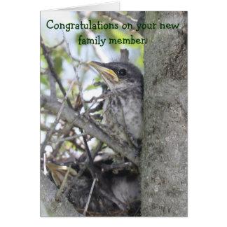 Carte Bébé de félicitations de bébé nouveau dans le nid