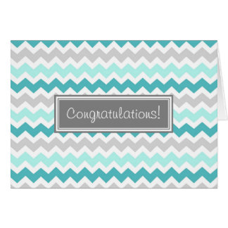 Carte Bébé de félicitations de Chevron de gris bleu