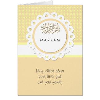 Carte Bébé jaune de musulmans de félicitation d'Aqeeqah