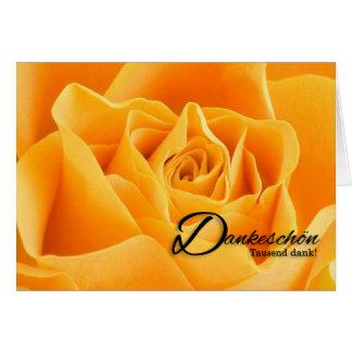 Carte Blanc de rose jaune de langue allemande de Merci