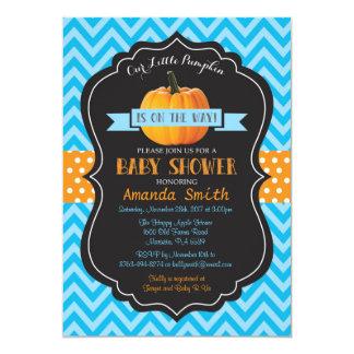 Carte Bleu Chevron d'invitation de baby shower de