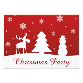 Carte Bonhomme de neige de renne d'arbre de Noël -