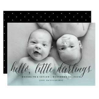 Carte Bonjour le petit garçon de chouchous jumelle le