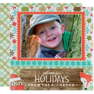 Carte Bonnes fêtes photo de Noël d'amusement de Fox et