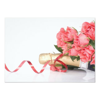 Carte bottle of champagne and pink