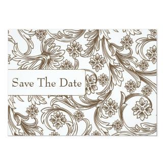 Carte Brown et mariage floral blanc de ressort