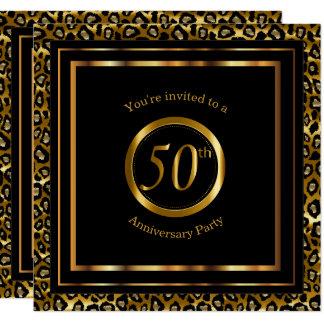 Carte cinquantième Années d'or avec le motif de léopard