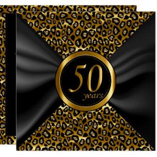 Carte cinquantième Années d'or avec le satin noir