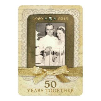 Carte cinquantième Collage d'anniversaire de mariage