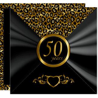 Carte cinquantième Motif de léopard de l'anniversaire de