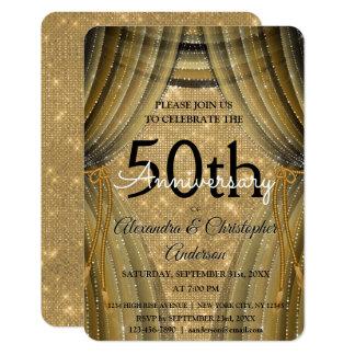 Carte cinquantième Noir d'anniversaire de mariage et