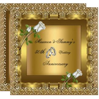 Carte cinquantième Or de mariage d'anniversaire élégant