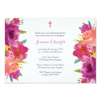 Carte Communion florale d'aquarelle première