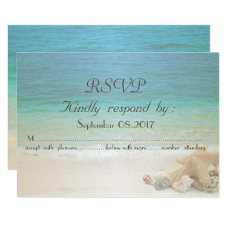 Carte Coquillages RSVP de mariage de plage