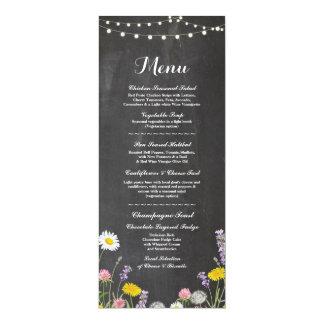 Carte Craie de réception de mariage de menu de fleurs