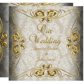 Carte Damassé beige d'or de mariage élégant
