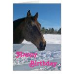Carte d'anniversaire de cheval d'hiver pour des fi