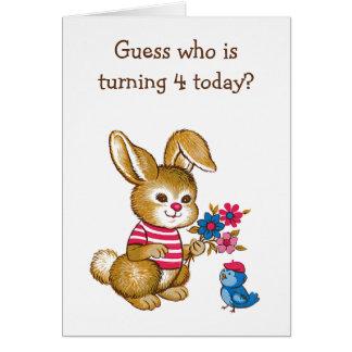 Carte d'anniversaire mignonne d'enfants de lapin