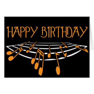 Carte d'anniversaire orientée de musique - orange