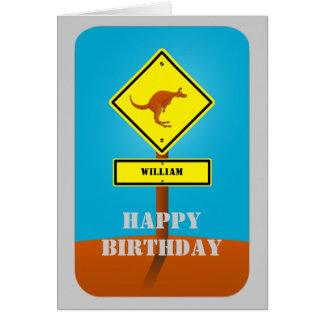 Carte d'anniversaire personnalisée par kangourou