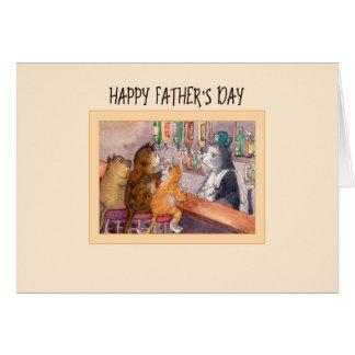 Carte de fête des pères, chats à une barre ayant