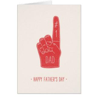 Carte de fête des pères de doigt de mousse - rouge