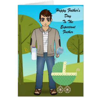 Carte de fête des pères pour le père dans l'expect