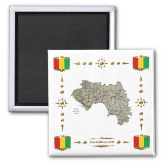 Carte de Guinée-Conakry + Aimant de drapeaux