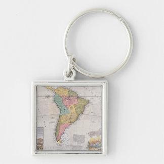 Carte de l'Amérique du Sud 3 Porte-clé Carré Argenté