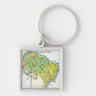 Carte de l'Amérique du Sud du nord Porte-clé Carré Argenté